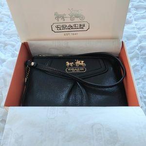 NIB Black Small Black Leather Coach Wristlet Purse